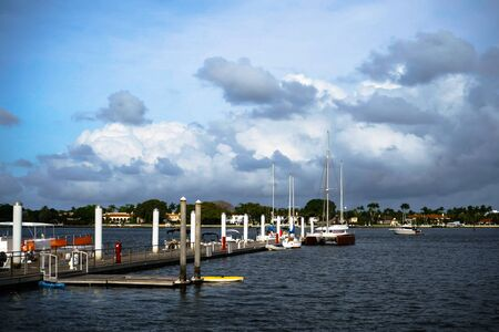 Landscape of the wharf of West Palm Beach, Florida.