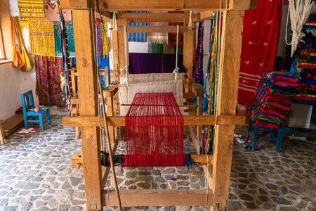 The standing loom used by the cooperatives of the Maya people Santa Catarina Palopó Guatemala. Stock Photo