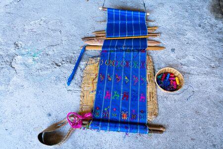 Waist loom of the Mayan community of San Antonio Palopo Guatemala. Stock Photo