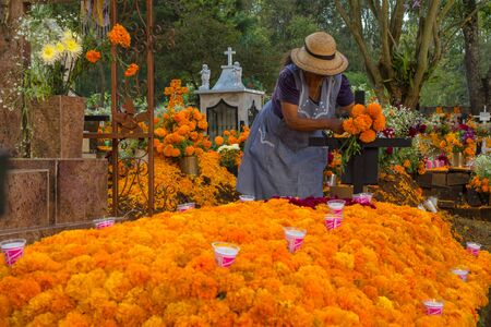 The lady adorns the tomb with flowers of cempasuchil the day of the dead.