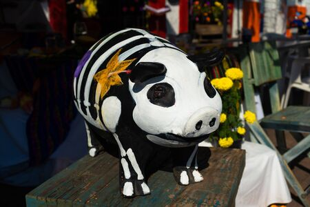 Skeleton of a pig on the day of the dead in Mexico.