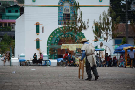 A man walks in front of the San Juan Bautista church in San Juan Chamula, Chiapas.