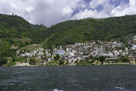Landscape of the Mayan people Santa Catarina Palopo on Lake Atitlan Guatemala