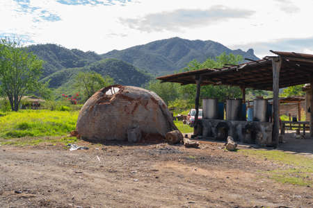 Artisan oven in the field to make tequila and raicilla.
