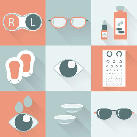 ophthalmology: Optical icons, ophthalmology icons set, vector symbols