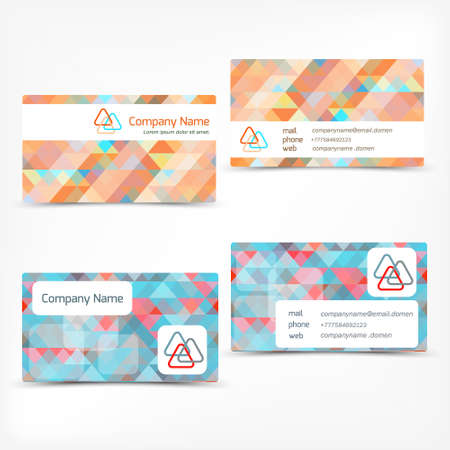 carte visite: Business card template set, abstract  triangle background.