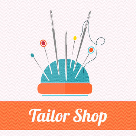 needle cushion: The pillow  for needles thread needle vector illustration. Sewing equipment. Cushion for needles. Flat icon for tailor shop.