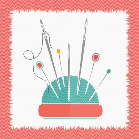 The pillow  for needles thread needle vector illustration. Sewing equipment. Cushion for needles. Flat icon for tailor shop.