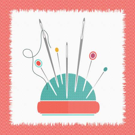 Das Kissen für Nadeln Faden Nadel Vektor-Illustration. Nähanlagen. Kissen für Nadeln. Wohnung Symbol für Schneiderei.