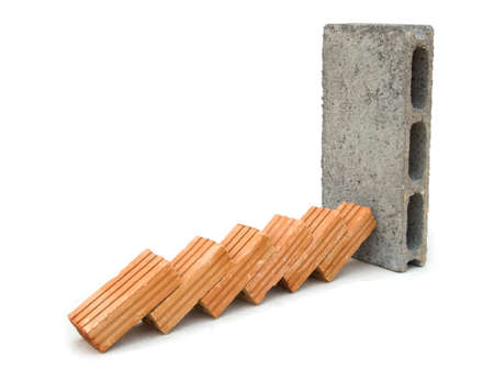 stopping: Stopping the domino effect concept Stock Photo