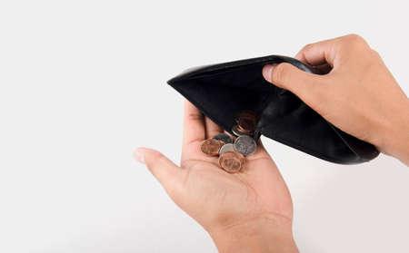 empty wallet: Human hand and empty wallet - broke