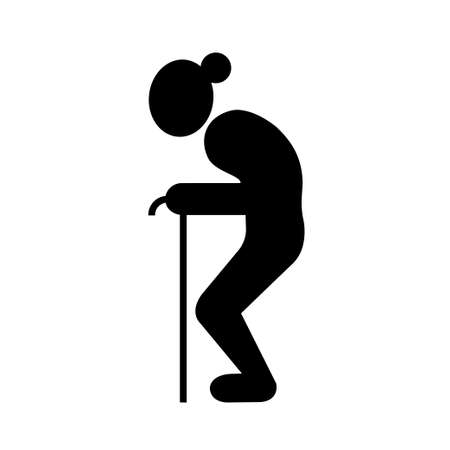 Old lady and walking stick Vector Illustration
