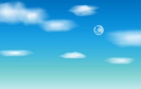 Background with clouds on blue sky And full moon, Blue Sky vector