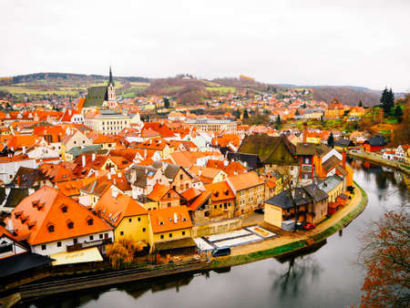 arial: Arial view of cesky krumlov, a small city in the South Bohemian Region of the Czech Republic Editorial