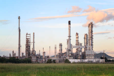 greenpeace: Oil Refinery factory in the morning , petrochemical plant , Petroleum.