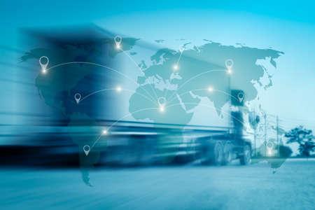 Mappa internazionale del mondo di collegamento di collegamento di collegamento con sfondo di logistica di distribuzione logistica offuscata Archivio Fotografico