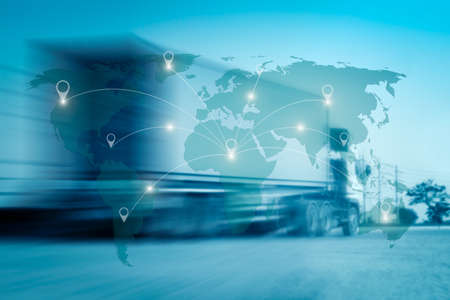 World international map connection connect network with blurred distribution logistic cargo warehouse background Stockfoto