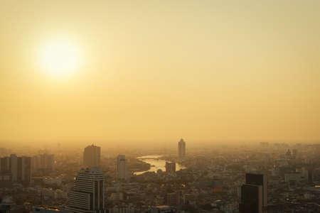 Sunset and Bangkok cityscape bangkok city of Thailand
