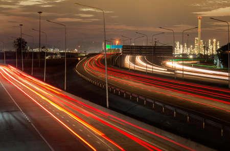 Highway traffic in sunset Foto de archivo