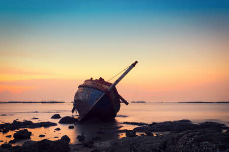 Shipwreck in Angsila Chonburi with sunset