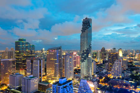 big city full of skyscrapers in the business district of Bangkok thailand