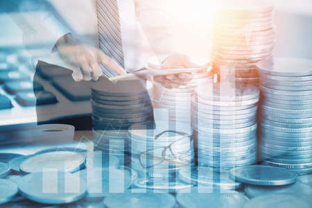 Double exposure stock financial indices on currency exchange.Financial stock market in accounting market economy analysis.Economy financial cost concept