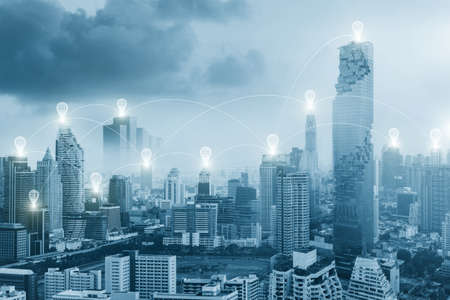Connecting network and business concept, city scape and Global business connection technology.
