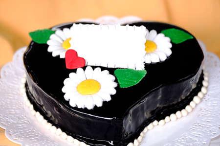 ganache: dark chocolate ganache cake  heart Stock Photo