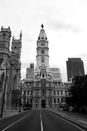 city hall of Philadelphia black white Stock Photo