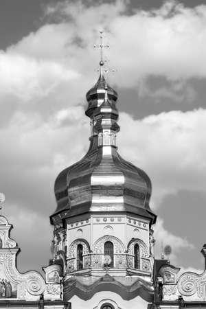 lavra: Kiev Lavra dome orthodox golden black white Stock Photo
