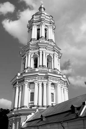 cupolas: orthodox church dome cupolas Kiev Lavra black white