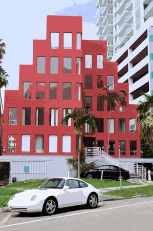 peculiar: red peculiar architecture building illustration Stock Photo