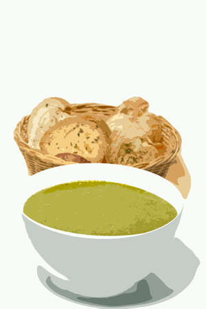 Spinach soup and garlic toast illustration