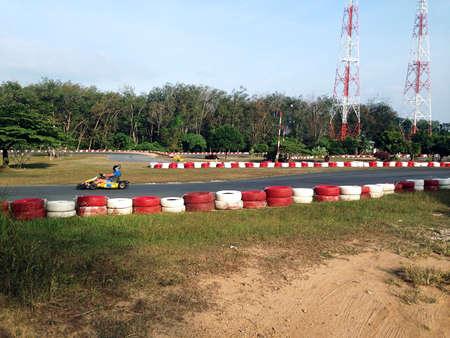 adrenalin: kart track competition adrenalin Stock Photo