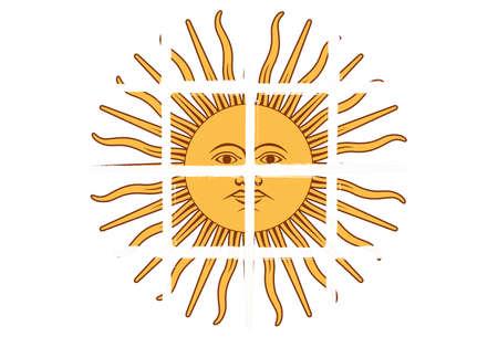 Glazed tiles sun logo sign