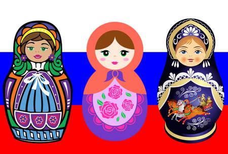 matrioska: russia country  flag matrioska