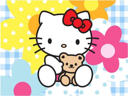Bonjour fleurs de chat fond bleu Banque d'images - 77199999