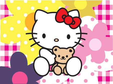こんにちはキティ花背景ピンク