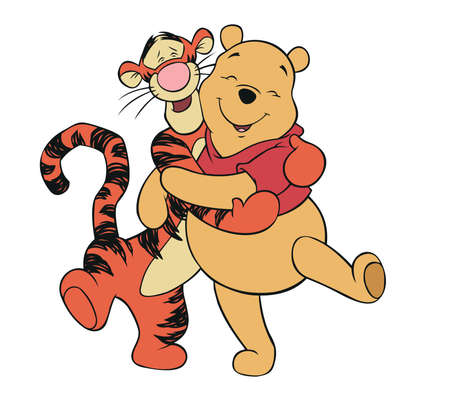arts backgrounds: Pooh and tigger huggy friend