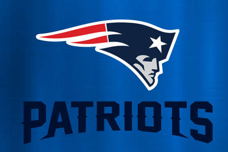 New England Patriots NFL blauem Hintergrund Standard-Bild - 79149561