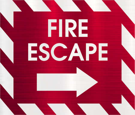 escape: fire escape direction sign Stock Photo