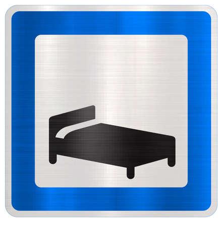 hotel motel blue traffic sign