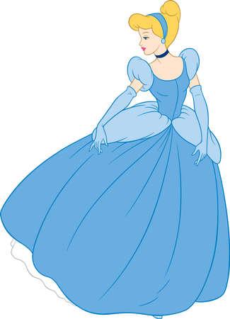 cinderella  princess illustration tales blue dress