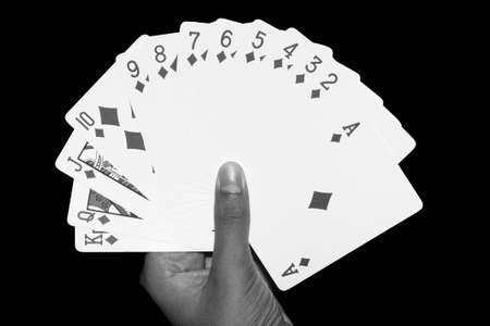 cards game hand diamonds  full hand  black white