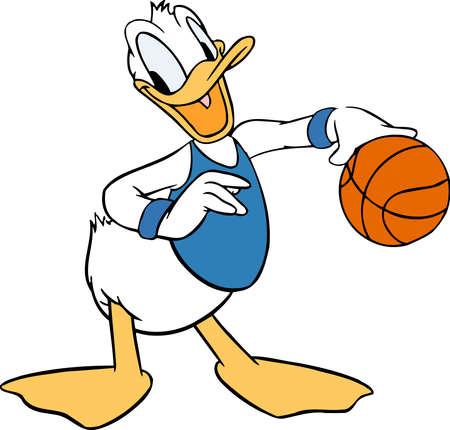 donald duck illustration cartoon basketball