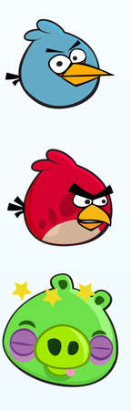 angry birds bue red bird bird  red green pig  illustration Editorial