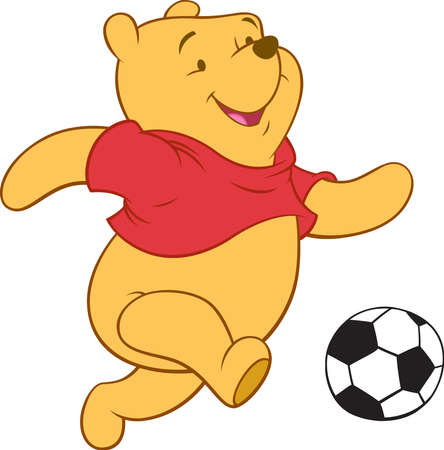 Winnie the Pooh bear illustration playing football 新聞圖片