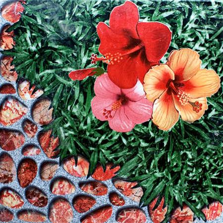 tile flower grass stone