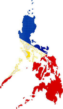 Flagge Karte Philippinen Abbildung Standard-Bild - 82520904