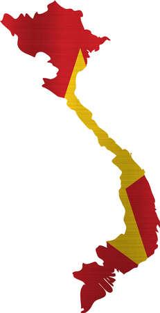 socialist: flag map vietnam illustration